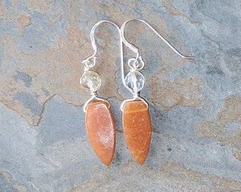 Orange Earrings, Natural Stone Earrings, Aventurine Earrings, Tangerine Earrings, Handmade Earrings, Spring Earrings, Summer Earrings