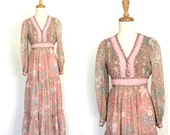 RESERVED- Vintage 70s Maxi Dress - empire waist - bohemian wedding - folk - Candi Jones - tea dress - bridesmaid - festival dress - S M