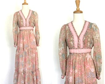 Vintage 70s Maxi -empire waist - bohemian - wedding dress - Candi Jones - tea dress - bridesmaid - festival dress - S M