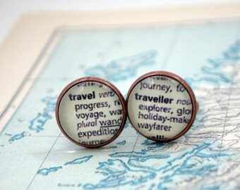World Traveller Cuff Links, Dictionary Text, Explorer, World Travel Cufflinks, Travellers, Wanderlust, Book Lover, Voyage, Journey