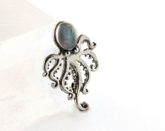 Opal Octopus Sterling Silver Pin