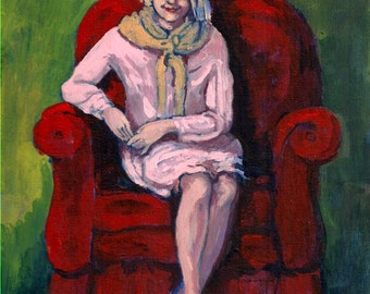 "ORIGINAL PAINTING, acrylic painting on canvas , 8"" x 10"", woman in pink dress portrait, figurative,""Big Red Chair"", Patty Fleckenstein"