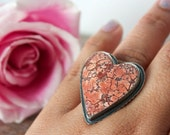 Red Brecciated Jasper, Sterling Silver, Feather Band, Cocktail Ring, Heart Ring... Size 7.5.... Mr. Raven... The Love Letters Edition......