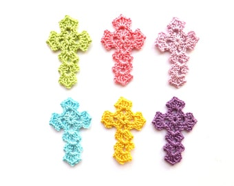 Crochet crosses - pastel crosses applique - christening favors - baptism favors - Easter ornaments - pastel spring decorations - set of 6