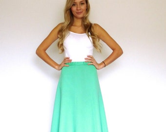 60s Minty Green Polyester Cheerleader Flute Skirt xs s