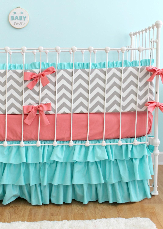 Coral Turquoise Chevron Baby Bedding Custom Baby Girl Bedding