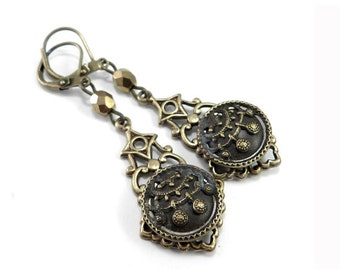 Antique Button Earrings - Victorian Lace Blossom - Victorian Button Jewelry - Edwardian Teardrop