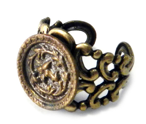 Victorian Jewelry, Antique Button, Victorian Button Ring, Gold and Steel Blossoms Ring Handmade by Compass Rose Design