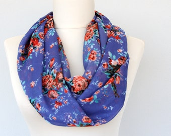 Blue chiffon scarf, floral scarf, red rose print scarf, flower pattern scarf, summer fashion, mothers day gift for mom, girlfriend gift idea