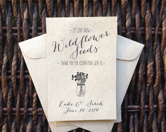 Let Love Grow /// Kraft Paper Flower Seed Favor Envelopes /// Wedding or Baby/Bridal Shower