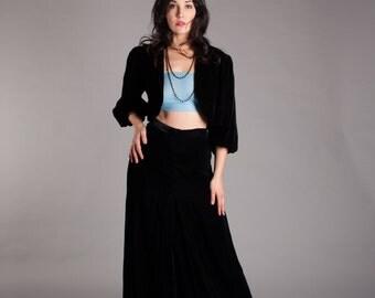 1930s Velvet Skirt & Jacket - 30s Evening Skirt - Alluring Darkness Skirt and Jacket