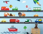 Cars Construction Airplanes Boats Transportation Decal, REUSABLE Decals Non-toxic Fabric Wall Decals for Kids, A159