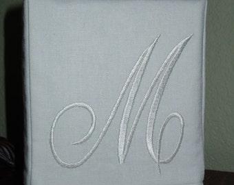 "Monogrammed Essex White Linen Tissue Box Cover -  Darling Aurora Monogram ""M""  Made To Order"