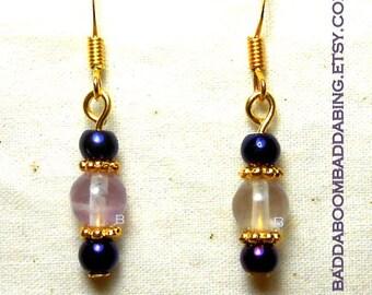 Purple Iris Czech and Fluorite Element Bead Dangle Drop Earrings Choice Of  Hooks
