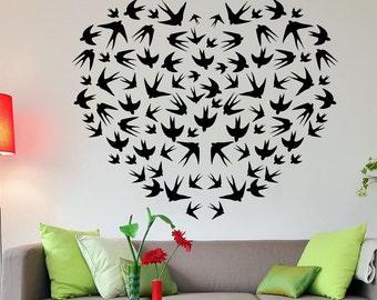Vinyl Wall Art Decal Sticker Bird Heart 1518s