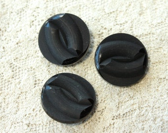 6 Black Buttons - 1950s - 60s Plastic Buttons - New Old Stock Buttons - SIX Small Black Buttons