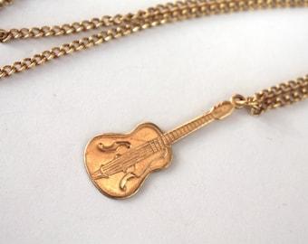 1960s Guitar Necklace // Brass // 50s 60s Music Pendant  // Vintage Jewellry // Handmade Vintage Novelty Necklace