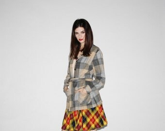 Vintage Plaid Coat  - - Vintage Pendleton Plaid Wool Coat - 60s Plaid Coats  - The Yale Bound Coat   - WO022