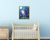 Rocket Wall Art Print Kids Room, Love You To The Moon And Back, 20x16 Giclee, Colorful Space Themed Art for Kids Room