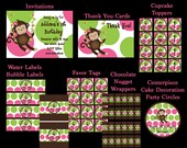 Pink and Green Monkey Birthday Invitation, Party Decorations, Party Supplies, Party Package