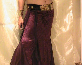 ATS and Cabaret Belly dance Trumpet skirt set in grape purple velvet and purple stretch mesh with gold sequined waist belt MED petite