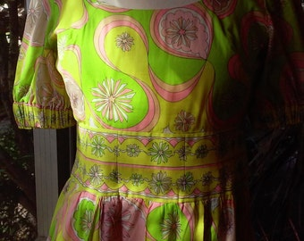 Early 60s PUCCI COTTON DRESS--Voile--Citrus Colors--Scoop Neck--Shirred Elastic Sleeves--Size 4/6