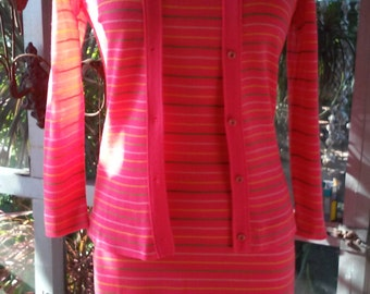 70s BANFF Styled By Gianni Ferri--Two Piece Set--Cardigan and Tank Dress--Striped Hot Coral--Thin, Skimpy, and Stretchy--Minty Mint