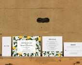 Modern Lemon Tree Botanical Wedding Invitations,Rustic Lemon Tree Wedding Invitation,Modern Lemon Tree Wedding Invite,Modern Colorful Invite