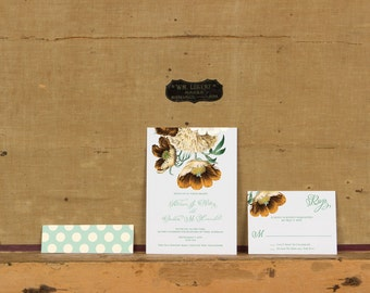 Rustic Flowers Wedding Invitation, Bright Rustic Floral, Rustic Botanical Wedding Invitations, Bright Bouquet Wedding Invite, Bright Floral