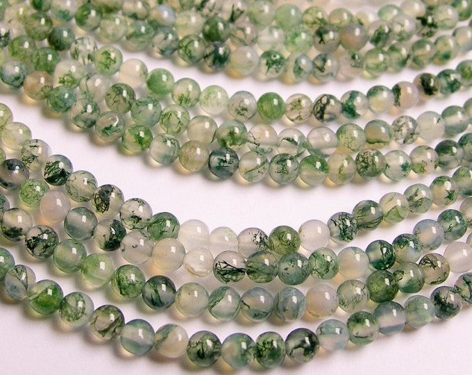 Moss agate - 4mm round beads -   full strand -  AA quality - 100 beads - RFG220