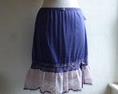 Ruffle Slip Skirt M/L Indigo Blue Glam Garb Handmade USA Romantic Slip Victorian Steampunk Vintage Hand Dyed OOAK Retro Rockabilly Bohemian