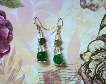 Green Adventurine and Crystal Quartz Stone Earrings (1981)