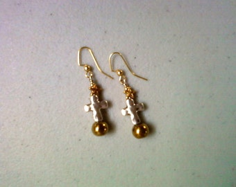 Silver and Gold Cross Earrings (1013)