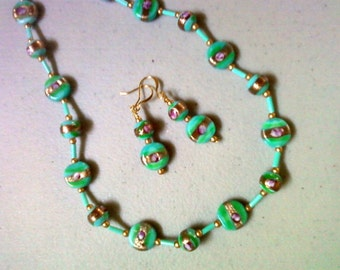 Aqua and gold necklace and earrings (0367)