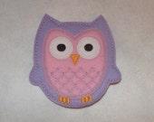 Extra Large 4 X 4 Machine Embroidered Hand made  Felt Owl Embellishment / applique