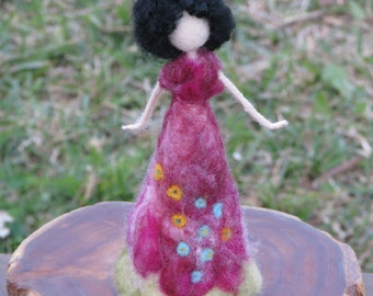 Needle felted Waldorf inspired doll Spring flower fairy home decor