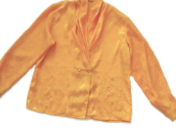 elegant collar yellow vintage 80s 1980s blouse top work professional event hipster kitsch club kid formal -extra large L Xl