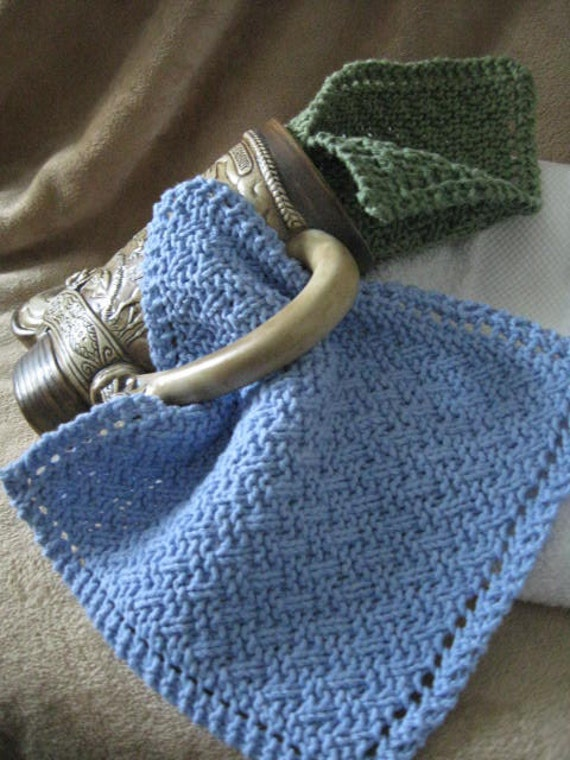 Knit Washcloth Pattern..Simple Weave on Diagonal With Eyelet