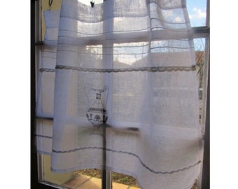 Italian Cafe Curtain, Custom White Linen Embroidered Lace Panel, Sheer Window Curtain, European