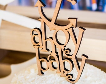 """Baby Shower Cake Topper - Nautical Themed Cake Topper for Baby Shower """"Ahoy Baby!"""" (Item - AHC100)"""
