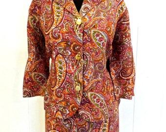 SALE vintage paisley skirt set - 1960s Slimaker pink paisley suit