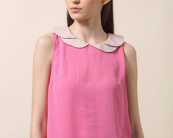 Sale, Collared top, Womens top, Sleeveless, pink top, Summer top, Summer blouse, Elegant top, Buttoned back, Petal collar, Valentines day