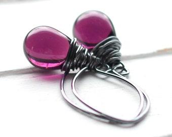 Plum Purple Glass Earrings, Amethyst Czech Glass Sterling Silver Wire Wrapped Teardrop, Oxidized Sterling Silver Earwires