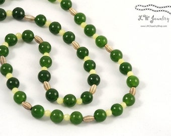 Dark Green Jade and Serpentine Beaded,  Silver, bead necklace, simple necklace, handmade necklace, gift for her, ooak