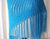 Azure BLUE Hand Knit Shawl Triangle Scarf Fringes in Anti Pill Acrylic / Aqua Blue knit scarf shawl / Bridal Shawl