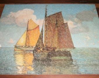 Perfect Picture Puzzle Heading Home Sailing Ocean Scene War Bond Logo 1940s