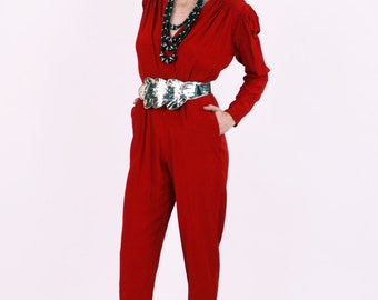 Vtg 90s Norma KAMALI Silk Jumpsuit One Piece Red  Romper Long Sleeve Hipster Glam Sexy Sz 6