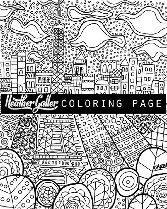 Paris Eiffel Tower Coloring Book Adult Pages Art Printable