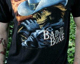 1992 Harley Davidson - Bad to the bone - 3D Emblem, Truckers only, Omaha Nebraska unisex 50/50 motorcycle biker t-shirt - men's sz L