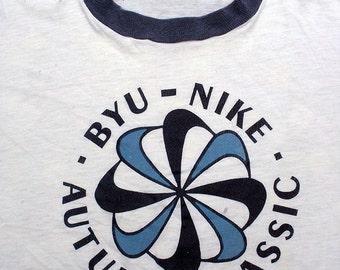 1970's NIKE, RARE pinwheel BYU Autumn Classic (as seen in Lightning Magazine) - marathon, collector unisex t-shirt - men's sz S/M